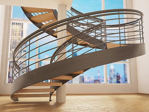 escalier en colimaçon avec un pilier central